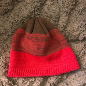 Pink and grey winter hat